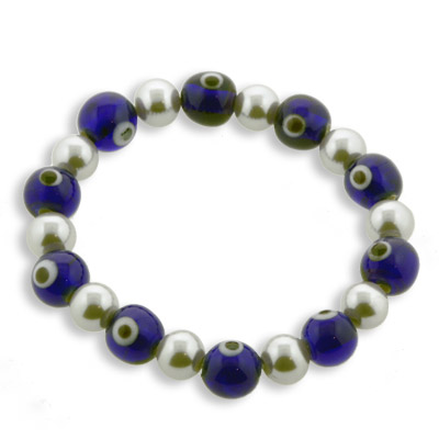 Blue Eyes with Pewter Glass Pearl
